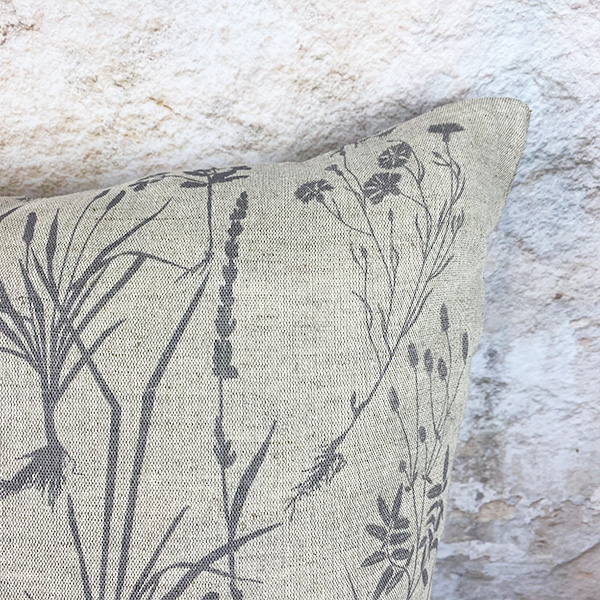CHARCOAL HERBS LINEN AND COTTON LARGE SQUARE 55X55 CUSHION