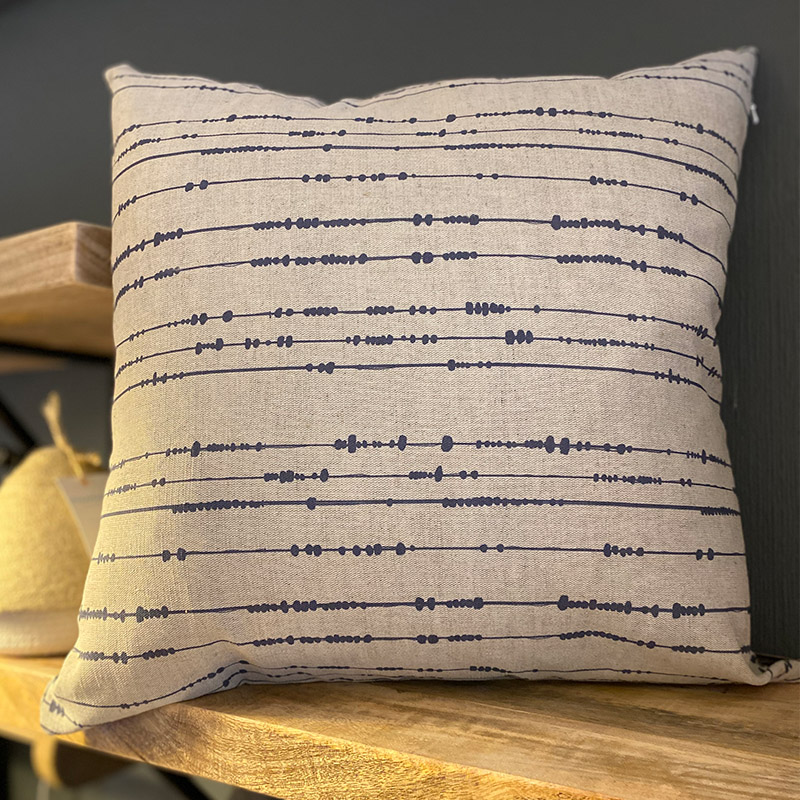 NAVY PRINT CUSHION LINEN/COTTON 50 X 50 {was £45}