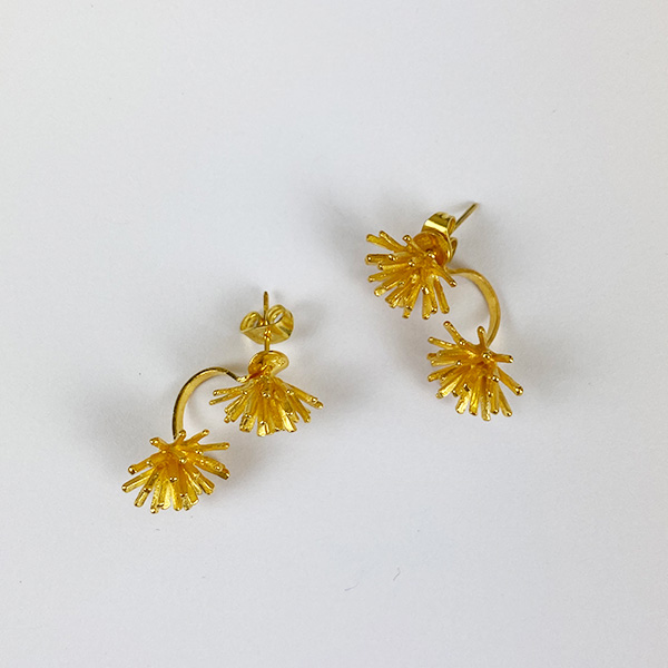 STAR BURST GOLD EARRINGS WITH REMOVABLE DROP BACKS
