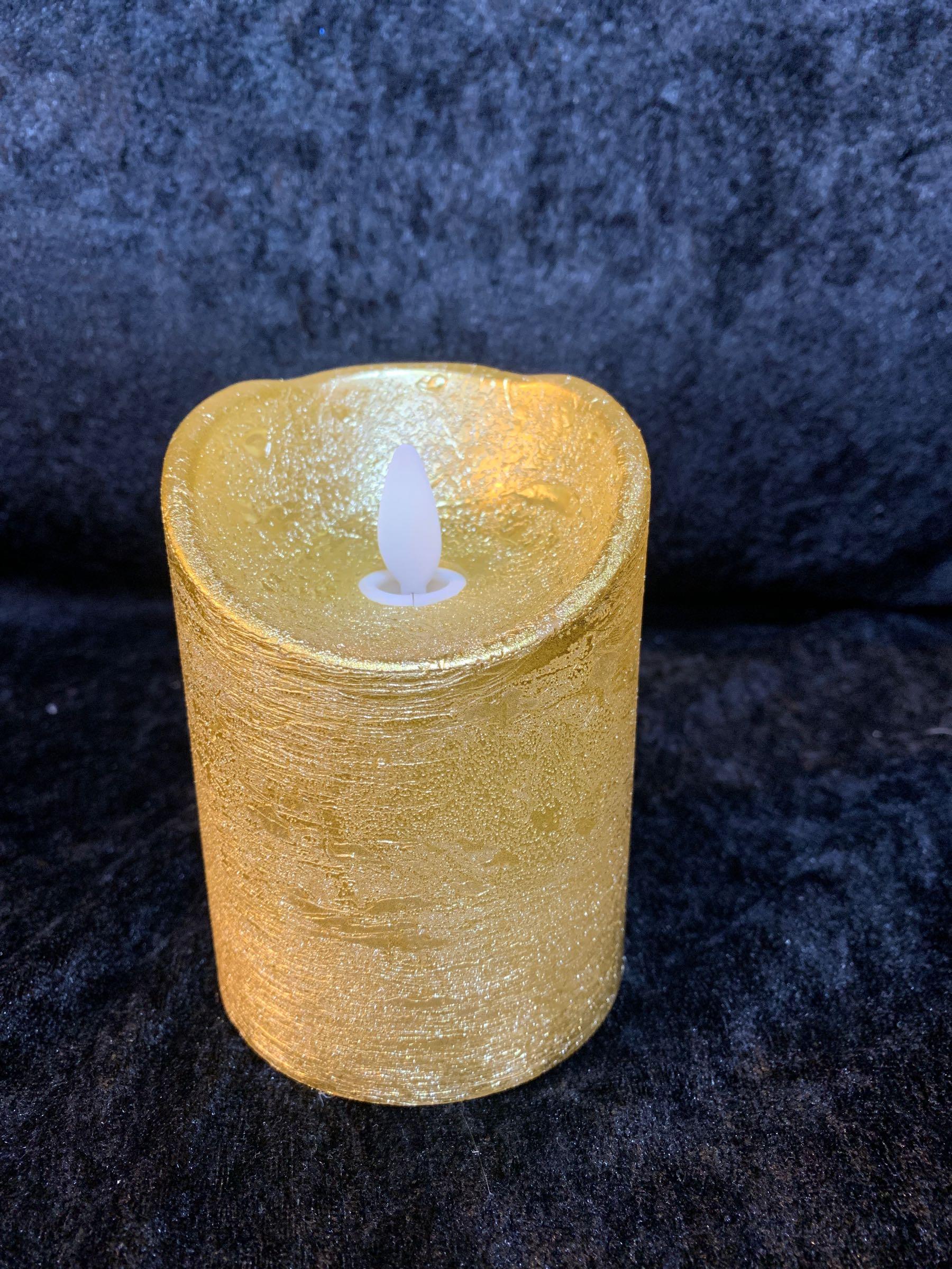 Salg! Kubbelys i voks gull (H:10cm)