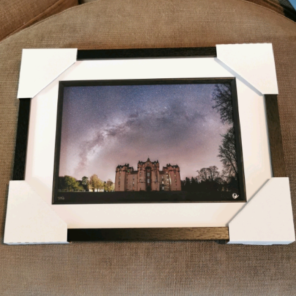 Milkyway over Fyvie Castle, A4, signed, black