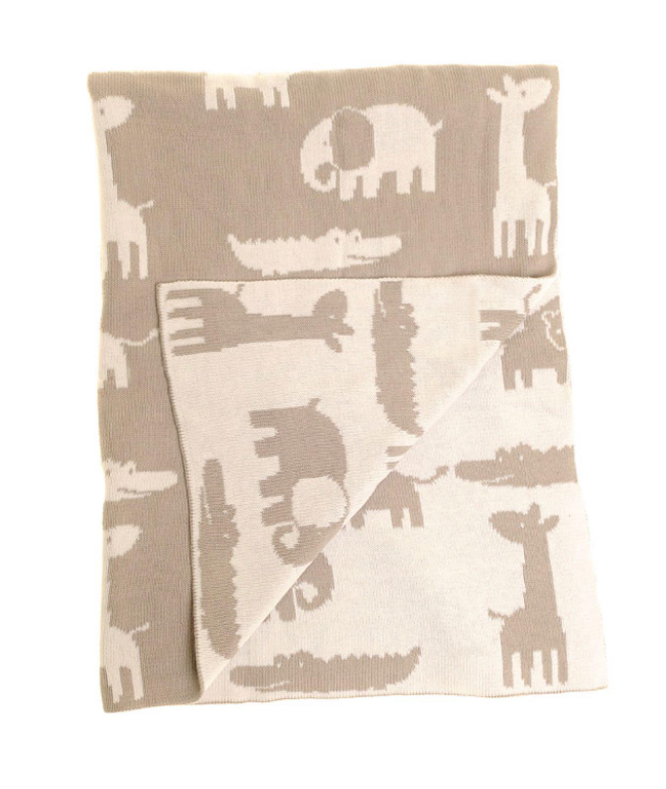 Ziggle Grey & White Animal Blanket