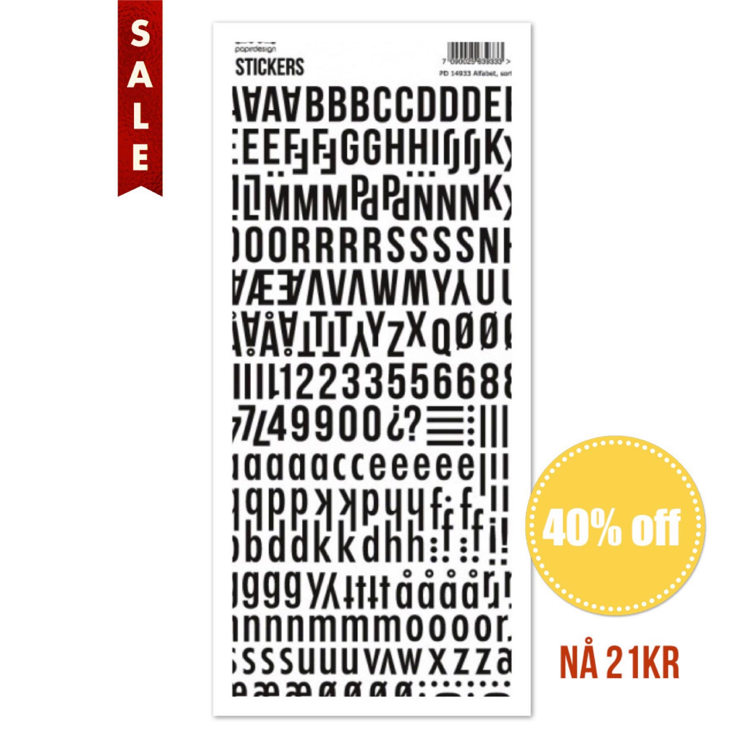 Papirdesign Alphabet Stickers / Klistremerker Alfabet - Svart / Black