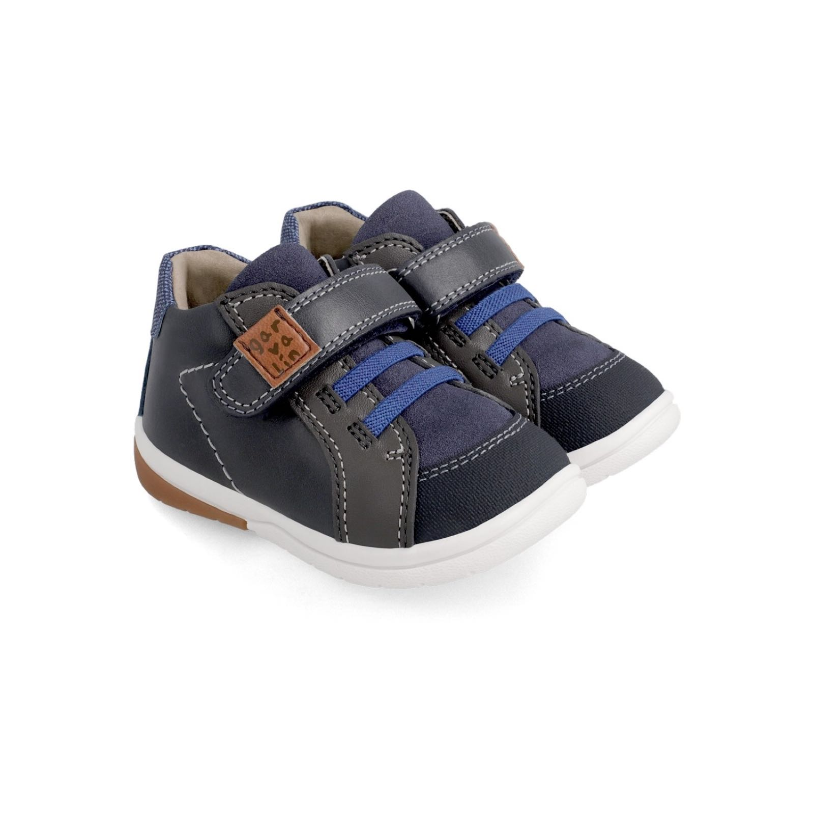 GARVALIN Navy and Brown Trainers 211602