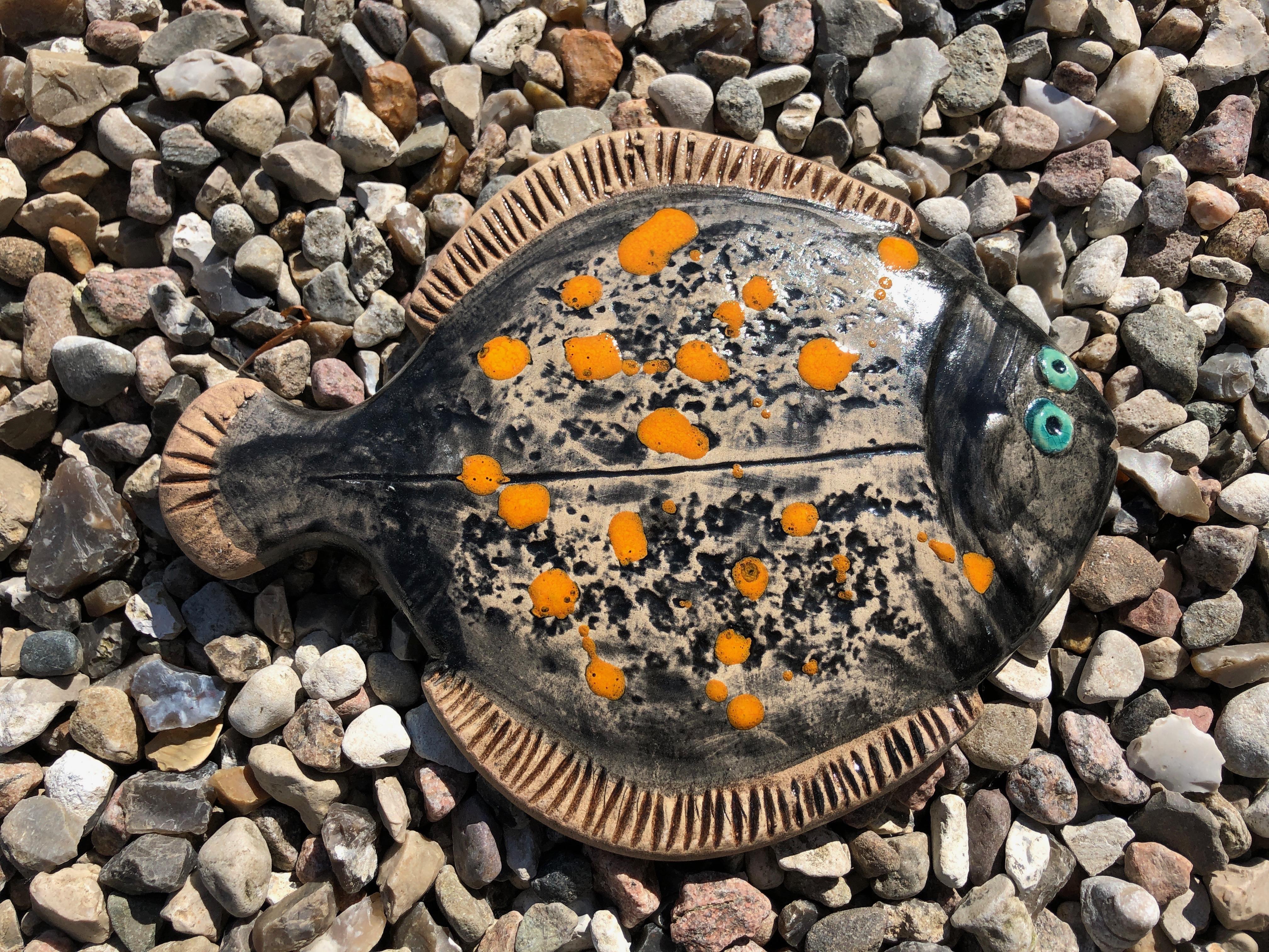 Fisk, rødspætte sort/orange, 22 cm