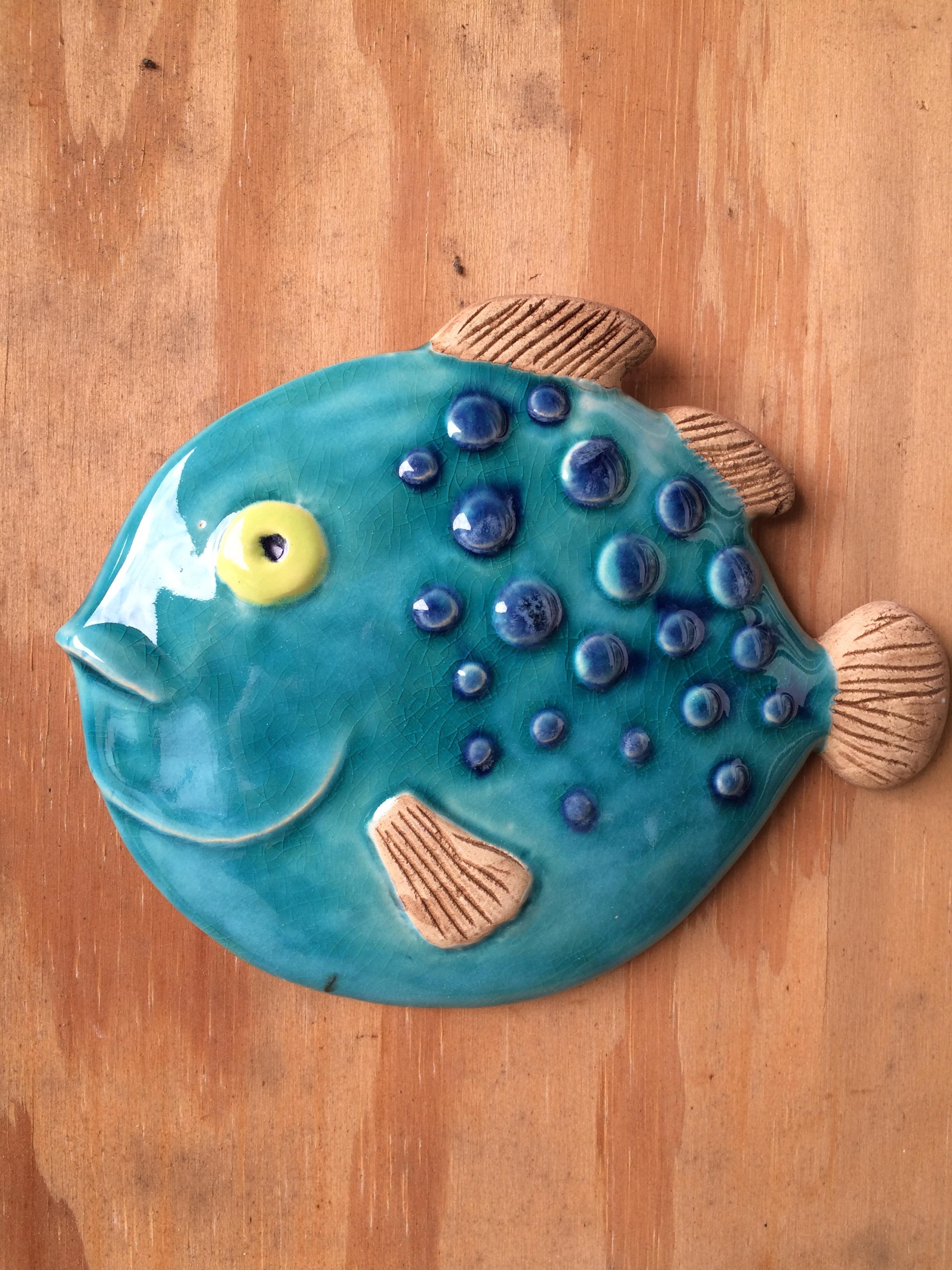 Fisk, turkis kuglefisk. 22 cm