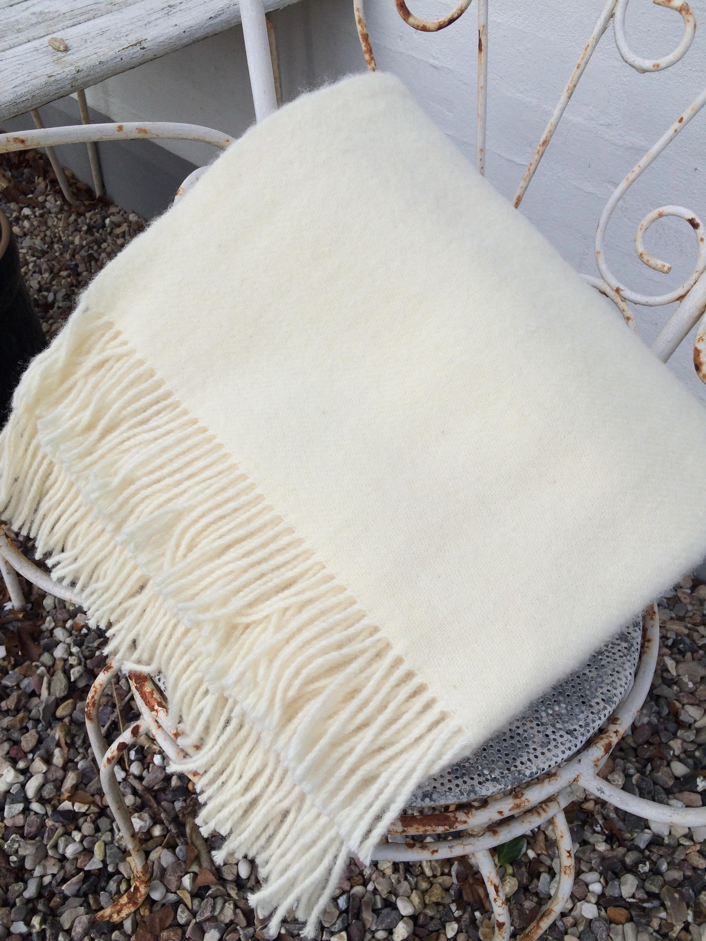 Uldplaid, hvid 140 cm x 240 cm