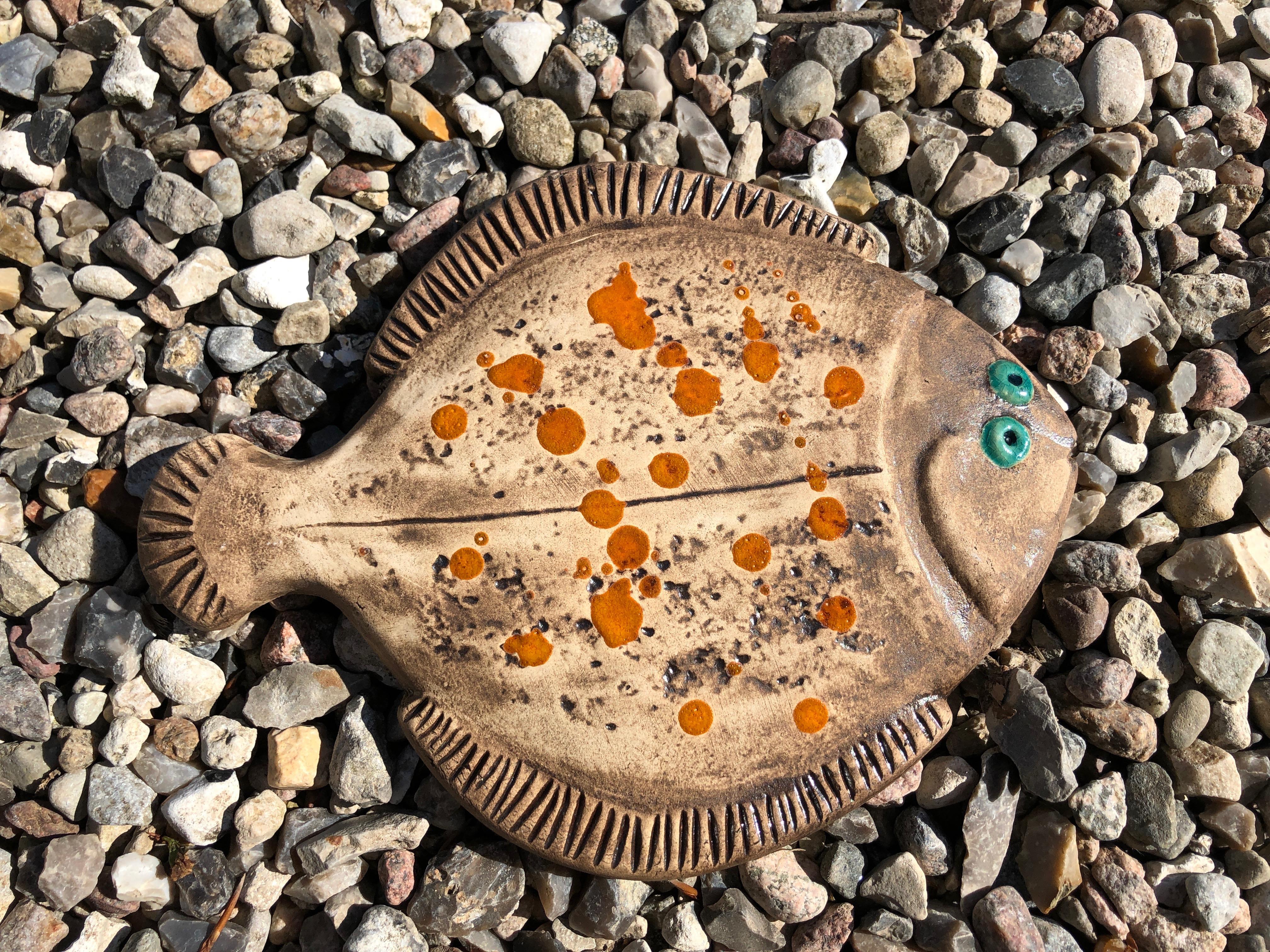 Fisk, rødspætte sand/orange, 22 cm