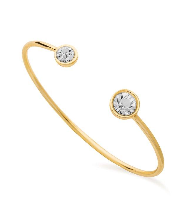 Moon bracelete open bangle, Crystal