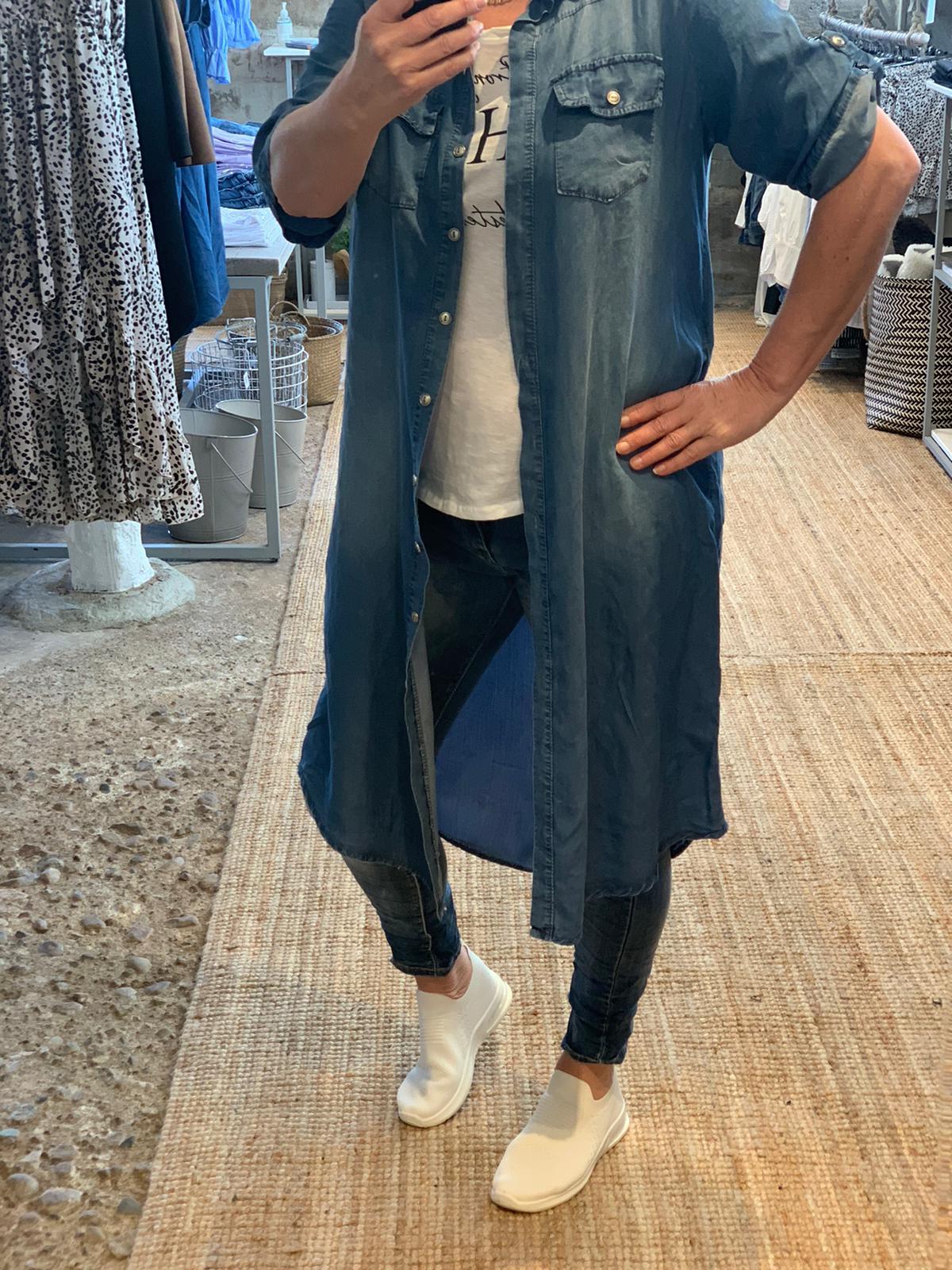 Jeansskjorta lång