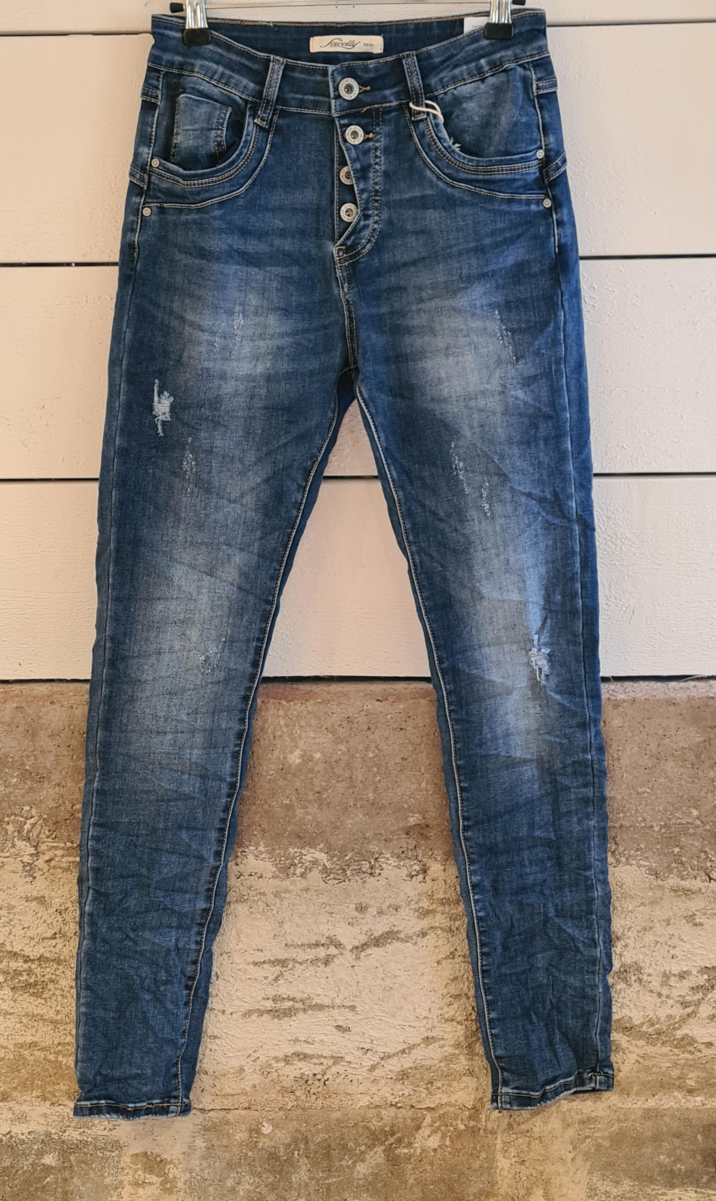 Jeans m slitning/knappgylf