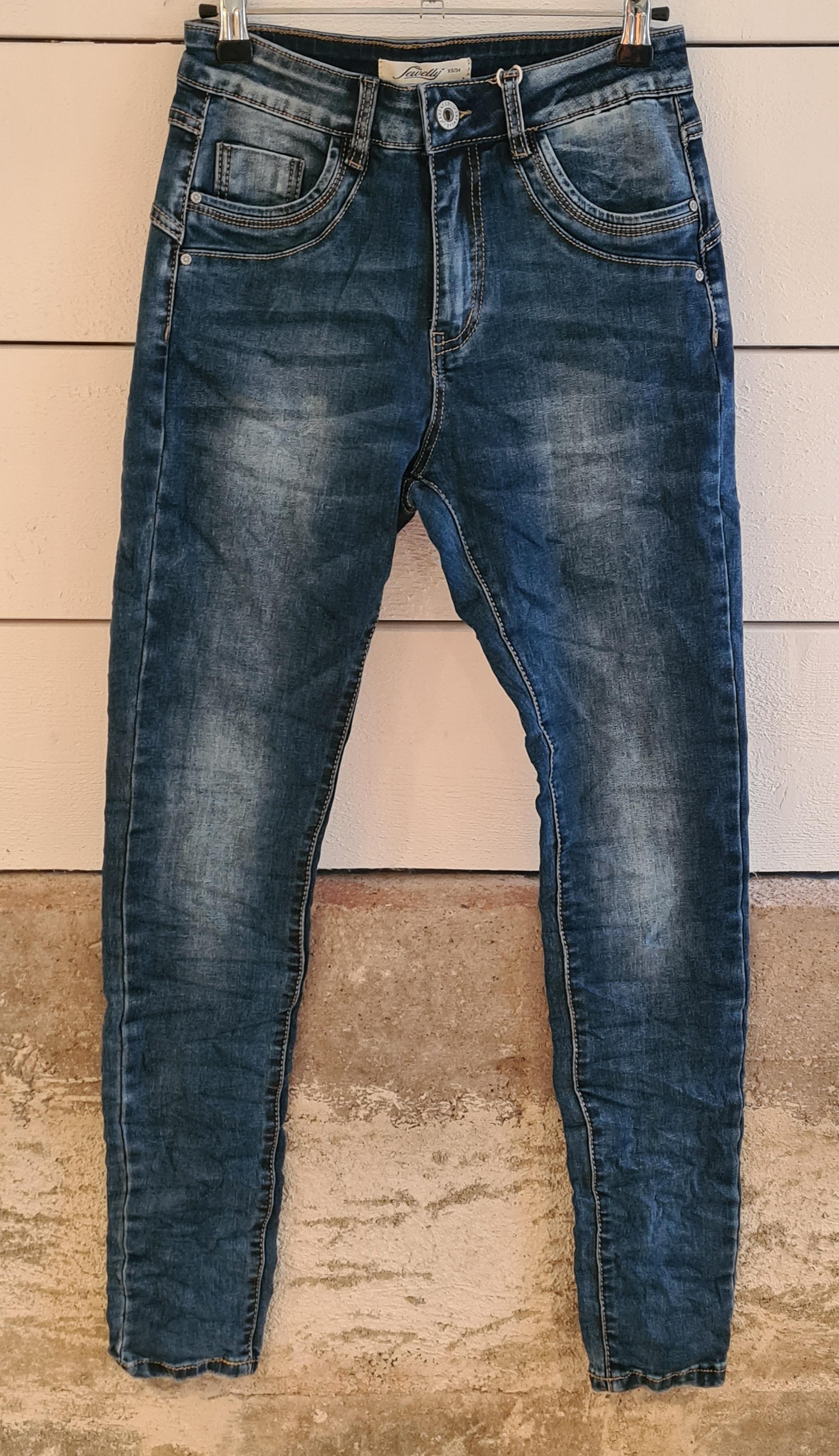 Jeans tvättadblå m zipgylf