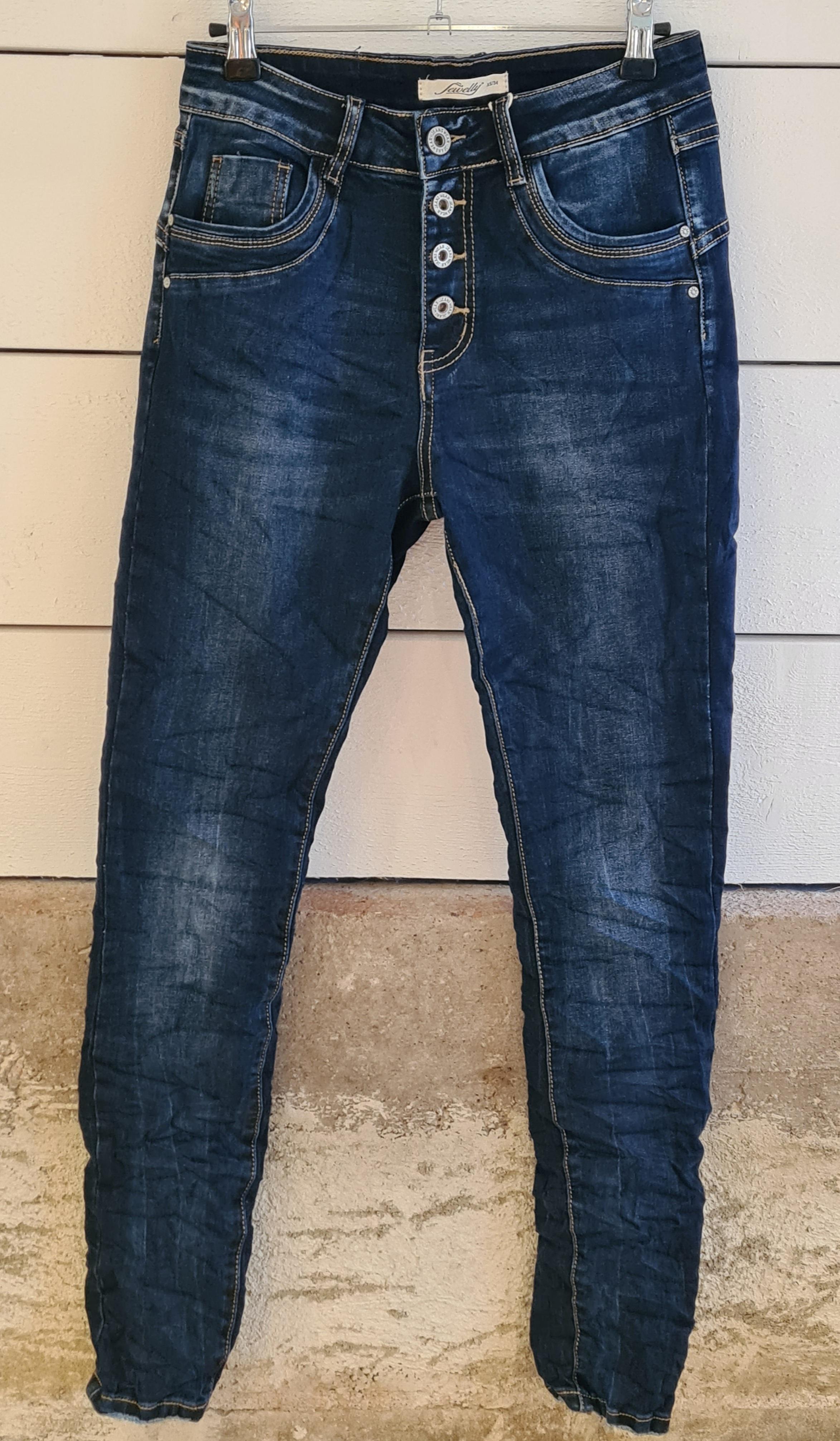 Jeans mörkblå/knappgylf