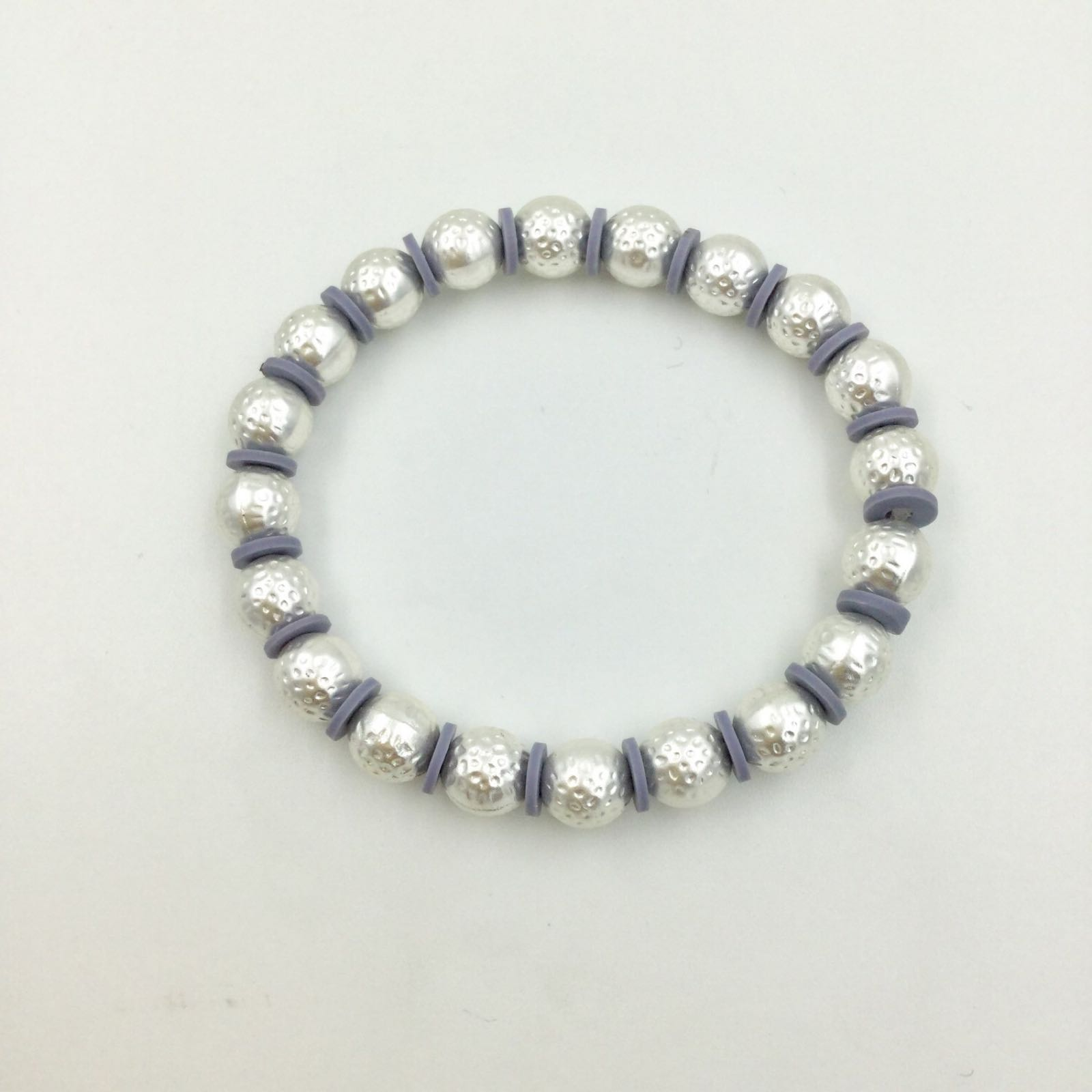 Elasticated Hammered Ball Bracelet - Silver