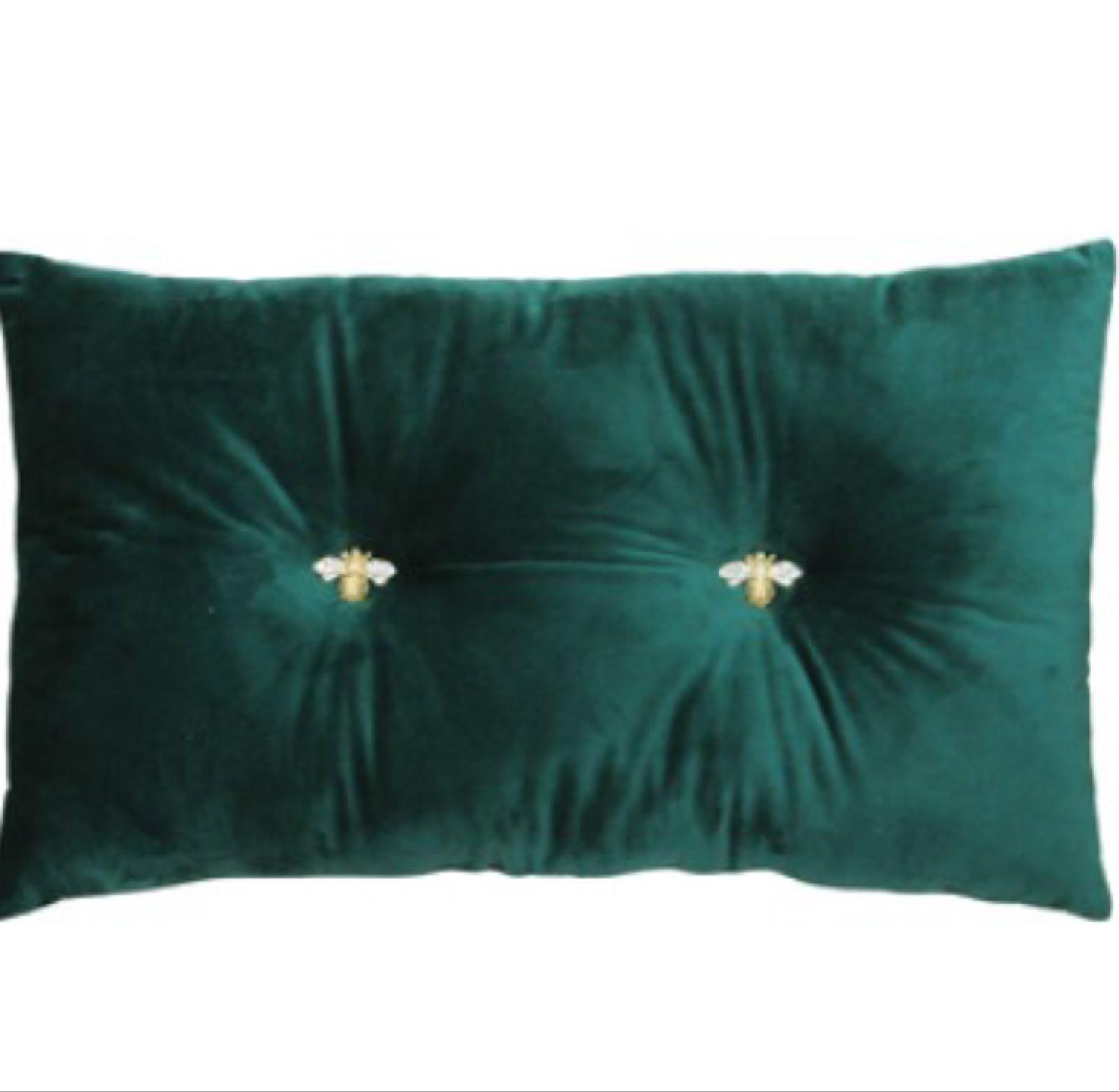 Emerald Bumble Bee Cushion 47cm x 30cm