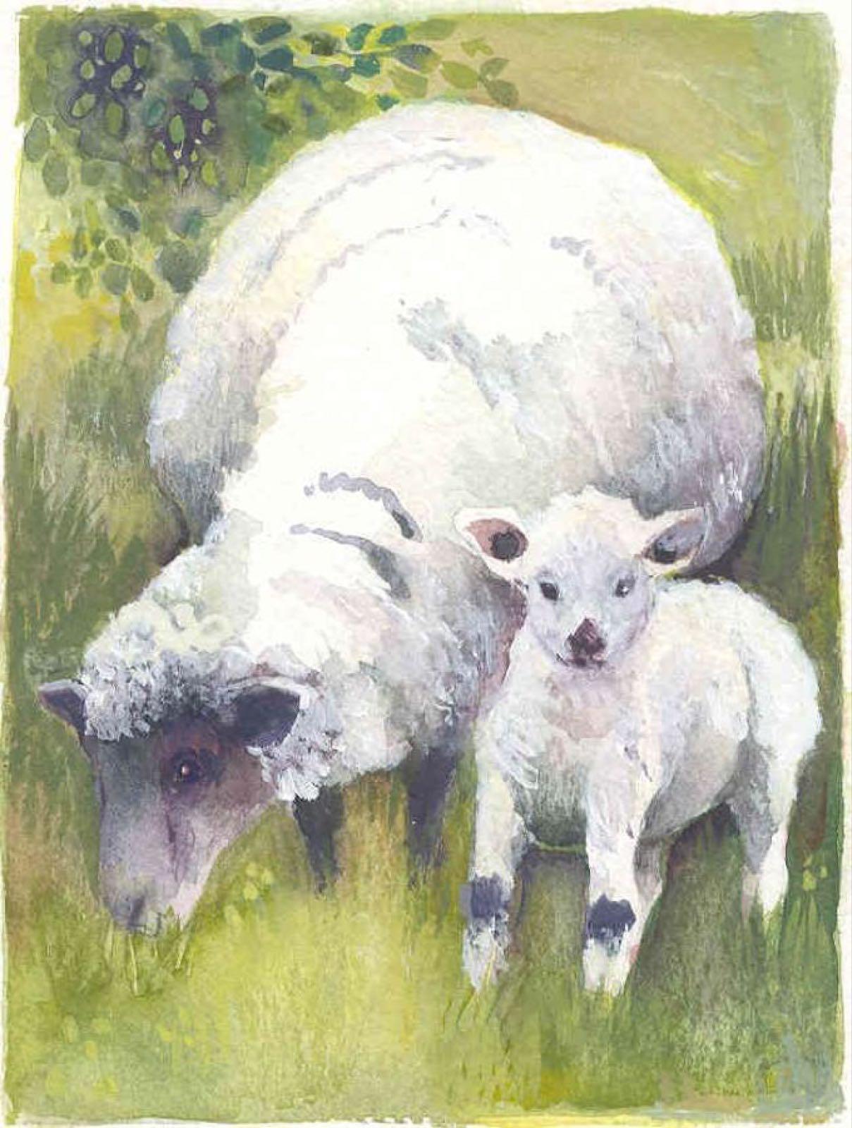 'Ewe & Lamb' Furzedown Gallery Mini Card
