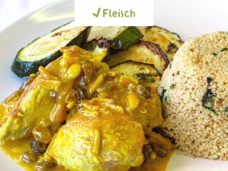 Marokkanisches Hähnchen mit gegrillten Zucchini und Kräuter-Couscous
