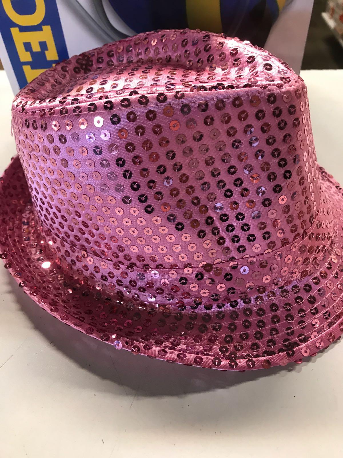 Hatt med paljetter -  rosa