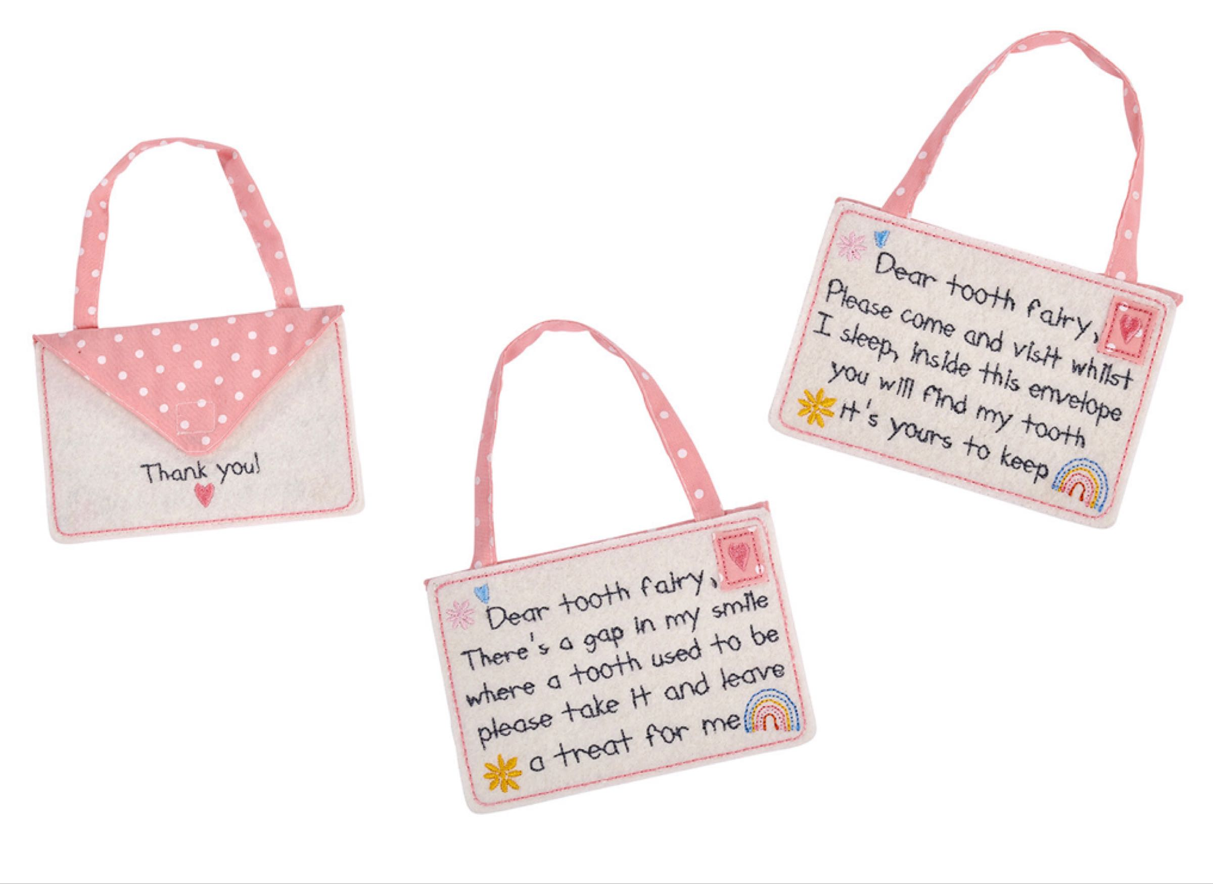 Pink tooth fairy envelope