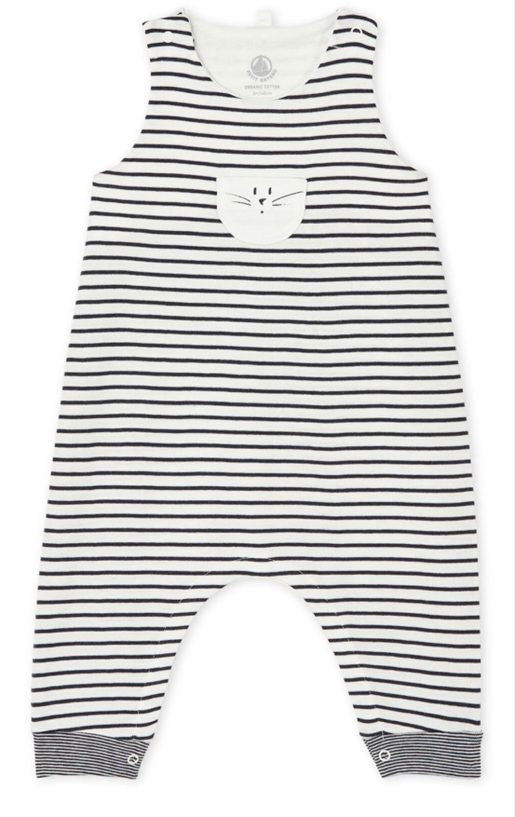 Petit Bateau Unisex Baby's Long Navy Stripe Dungarees