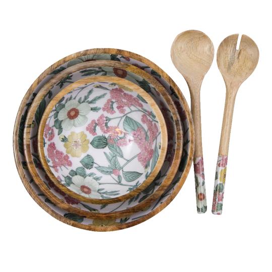 byRoom Mango Holzschalen Set mit Salat Besteck