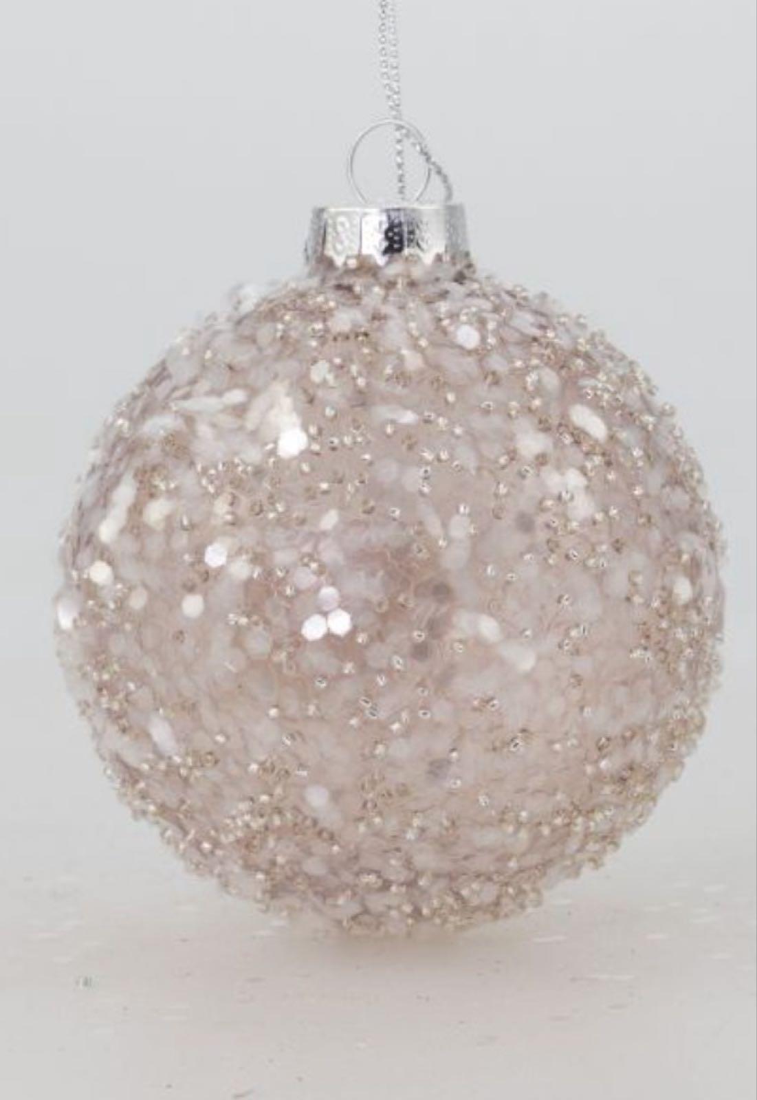 Villa Weiste, vaaleanpunainen kimaltava joulupallo