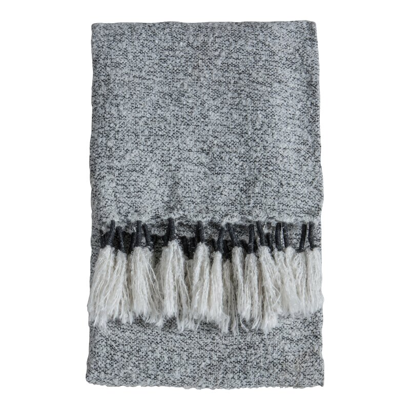 0027 Grey Tassel Woven Throw
