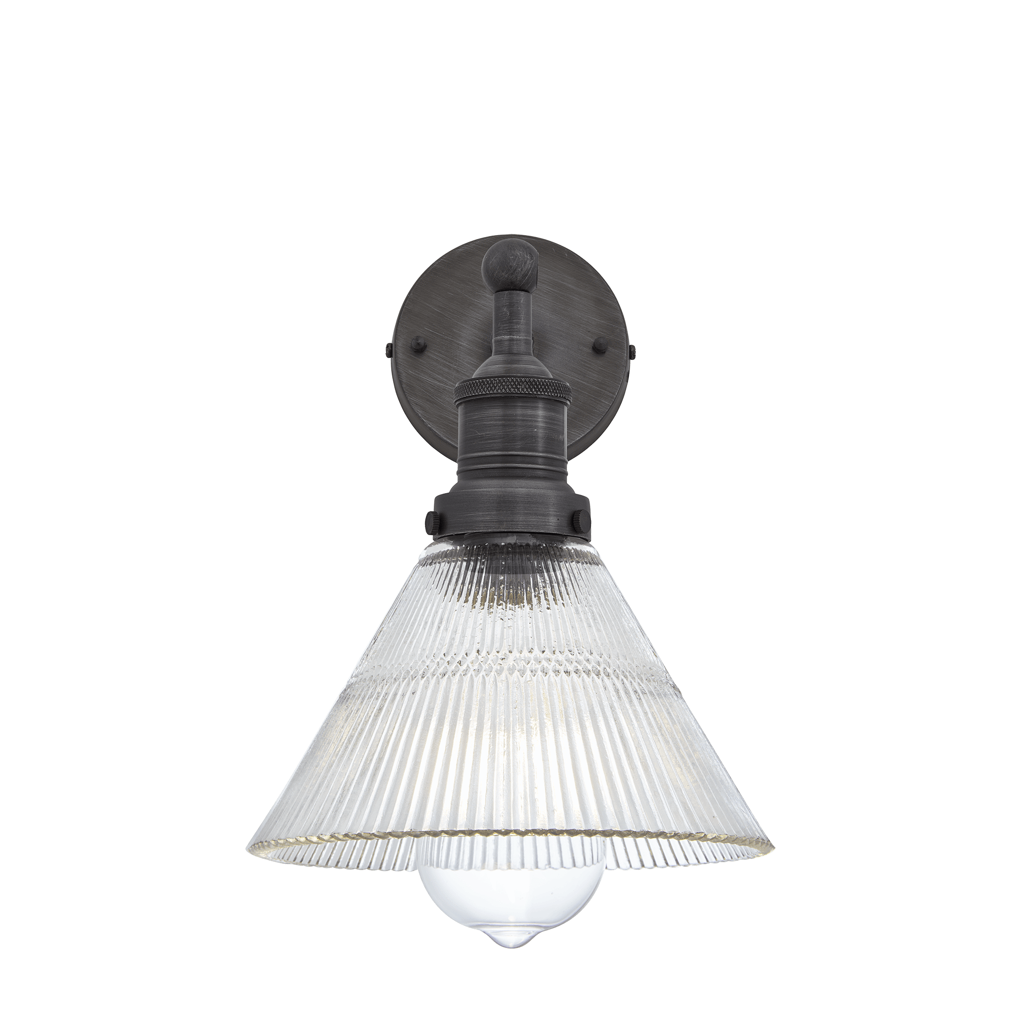 """0101 7"""" Glass funnel pewter wall light"""