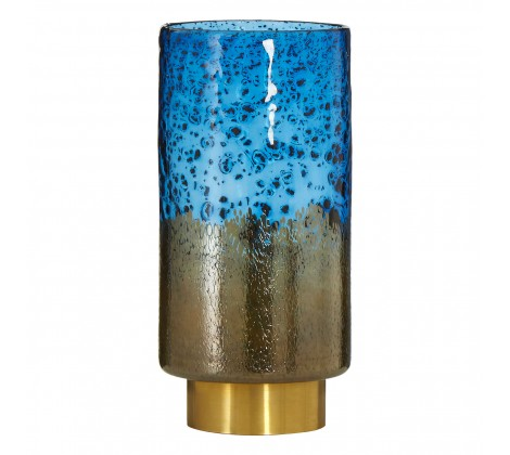1126 Blue/Brass bubble glass vase (slim)