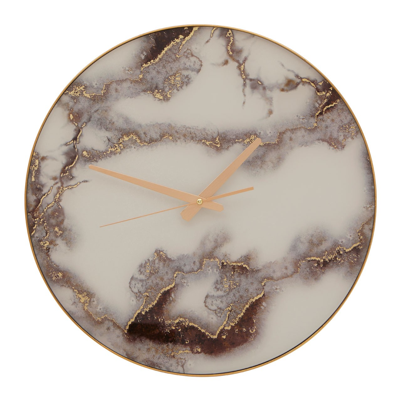 1448 White & Gold marble effect wall clock