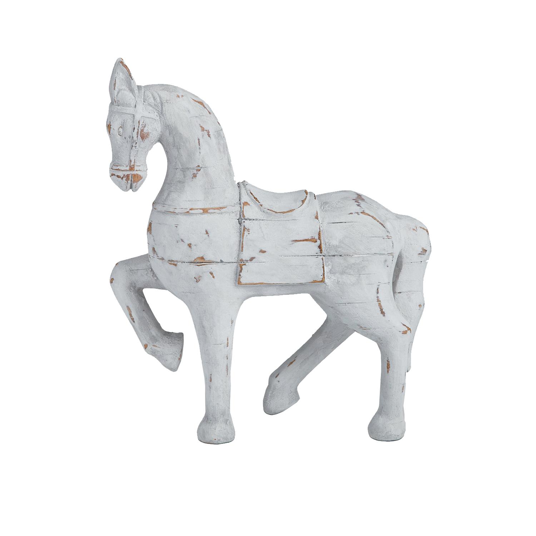 1437 White wooden horse sculpture