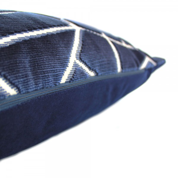 0001 Navy velvet abstract cushion