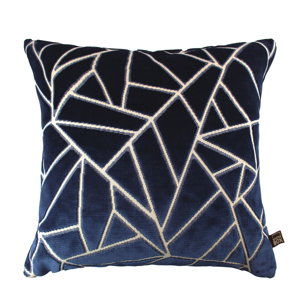 0001 Navy velvet abstract cushion