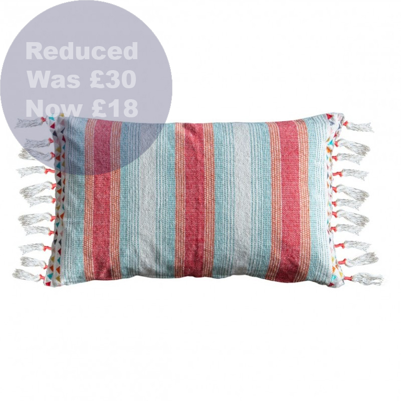 1167 Fringed/ embroidered cushion multi