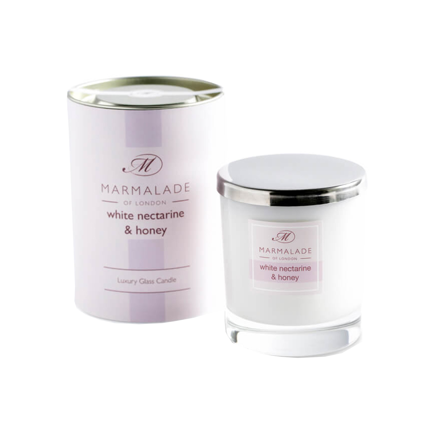 00174 White nectarine and honey glass candle
