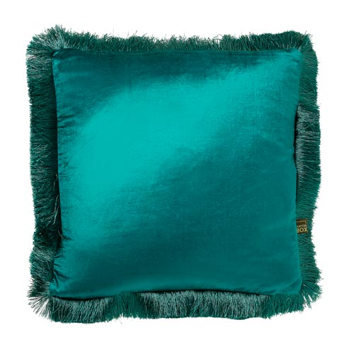 0019 Teal fringed cushion
