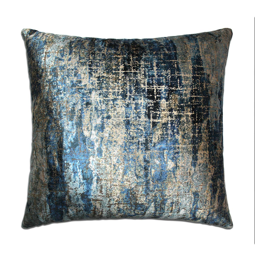 1114 Blue burnout velvet cushion