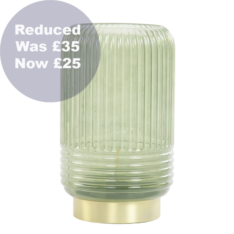 1738 Olive ribbed glass LED battery lamp