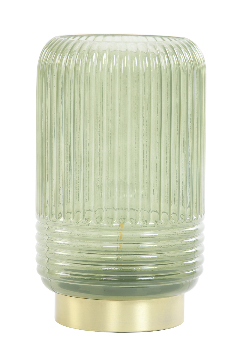 1738 Olive ribbed glass LED battery lamp