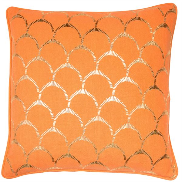 00806 Orange scallop gold foil cushion