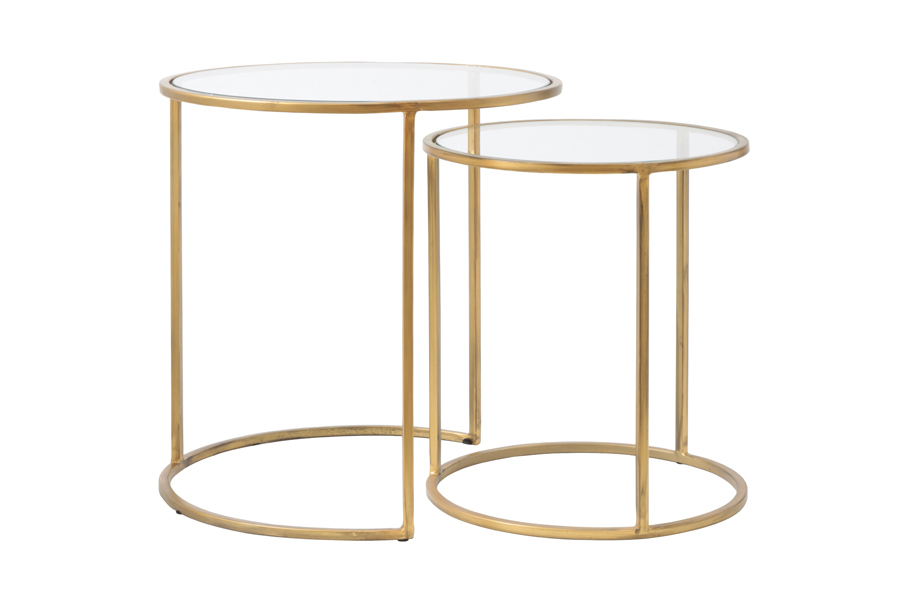 01062 Brass and glass nest side tables