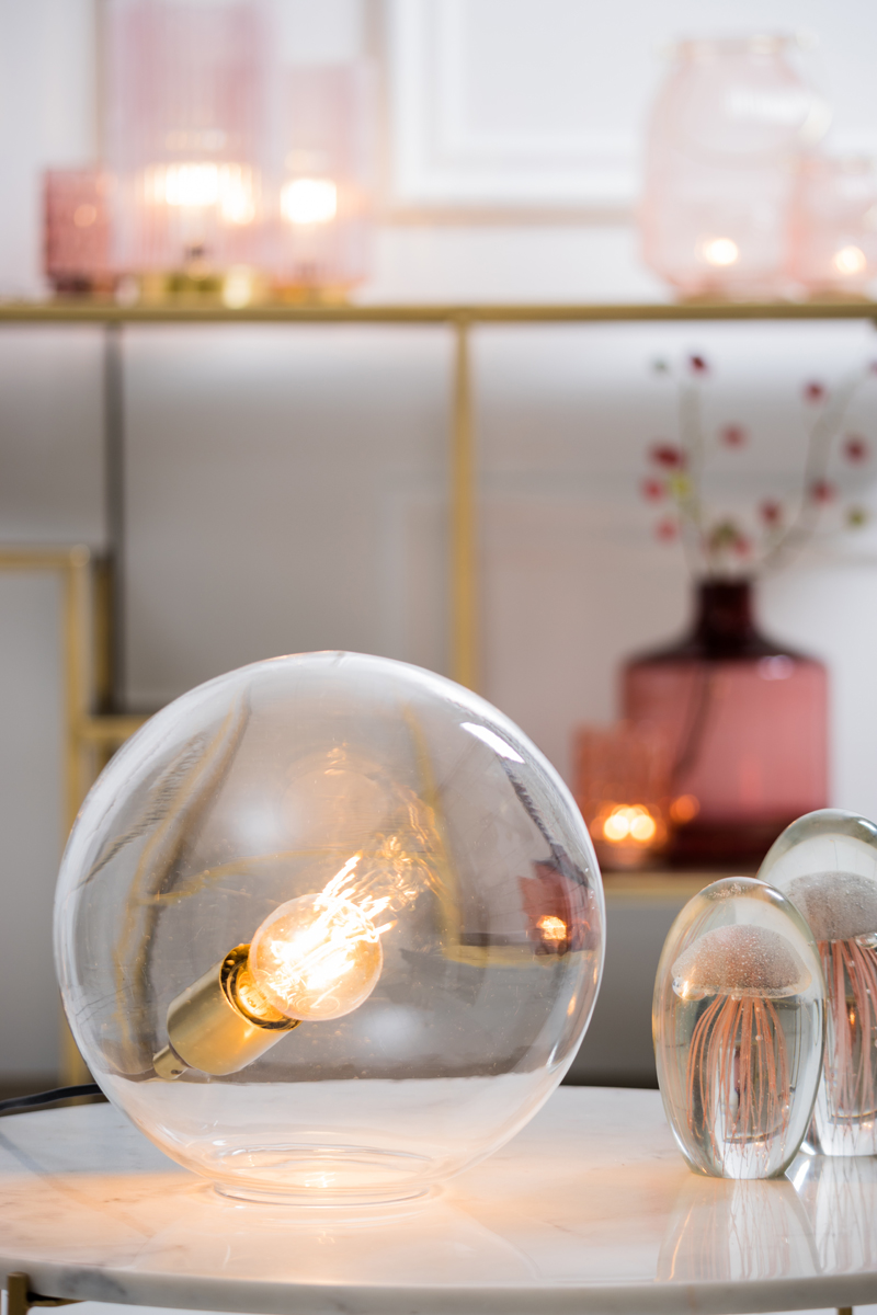 0012 Brass and Glass Ball Lamp