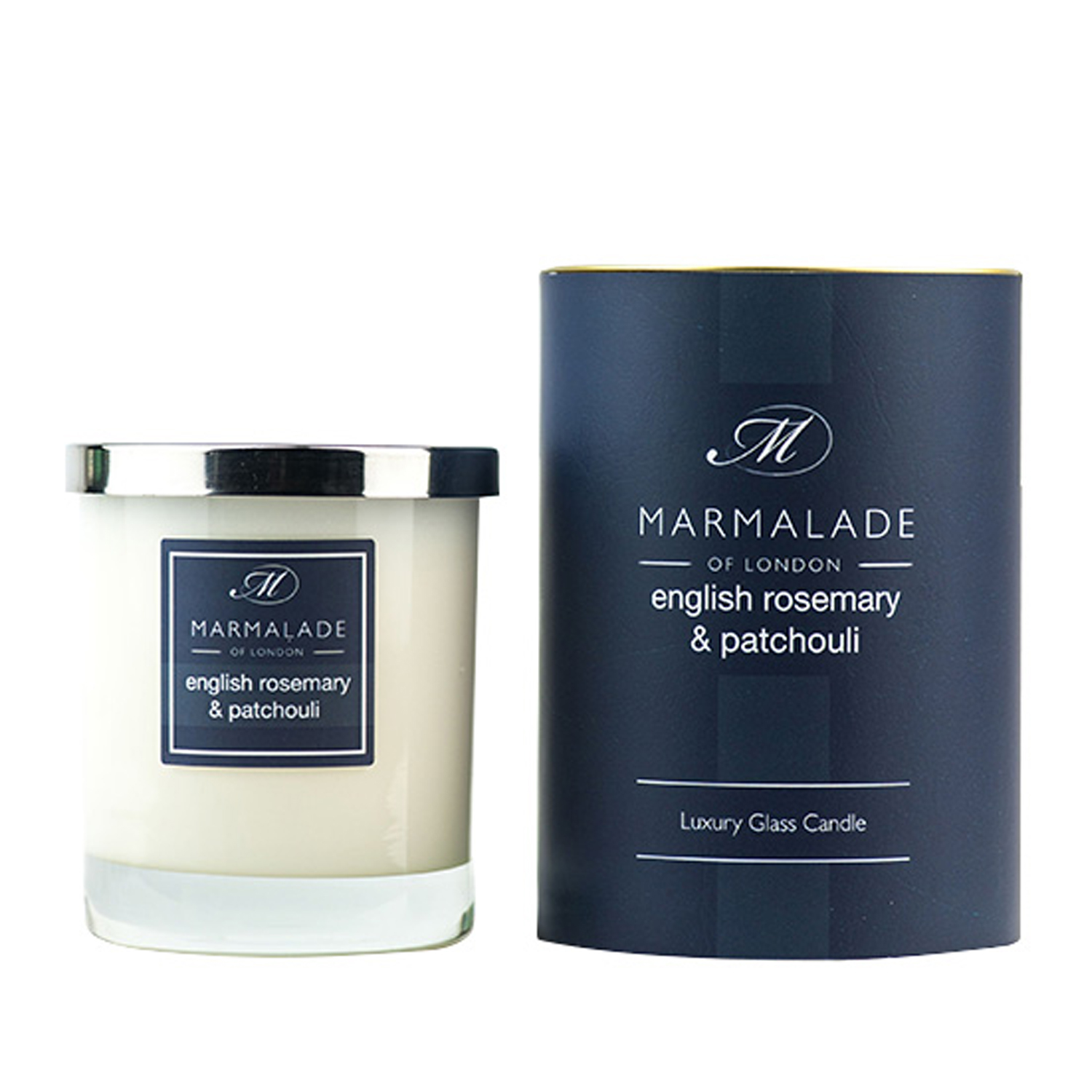 00174 English rosemary and patchouli glass candle