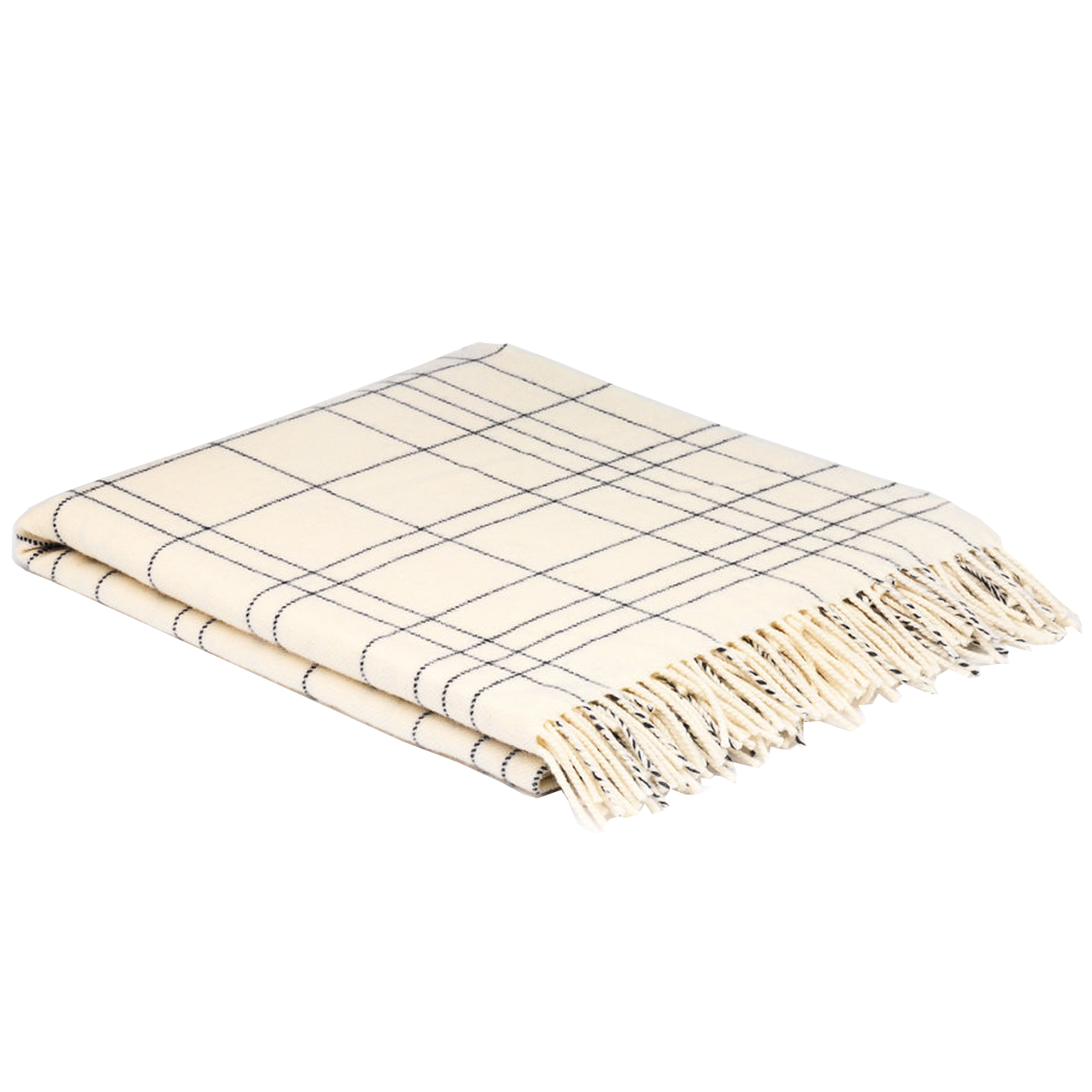 00327 McNutt of Donegal Cream Check Supersoft lambswool throw