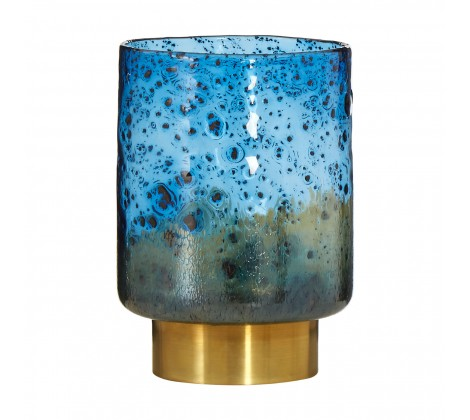 1126 Blue/Brass bubble glass vase (wide)