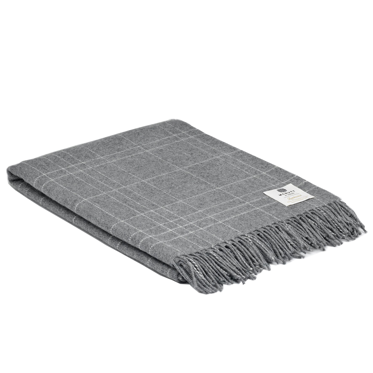 00327 McNutt of Donegal Grey Check Supersoft lambswool throw