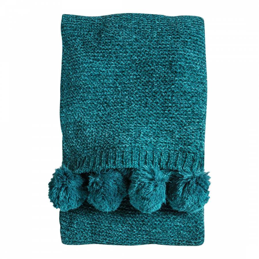 0026 Pom pom knitted throw teal
