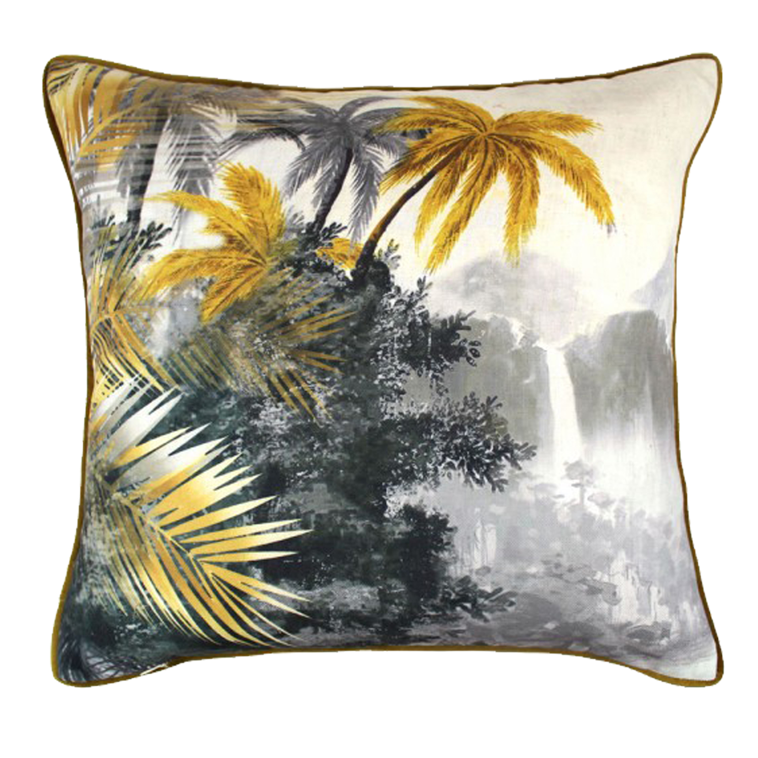 0006 Ochre & Grey tropical cushion
