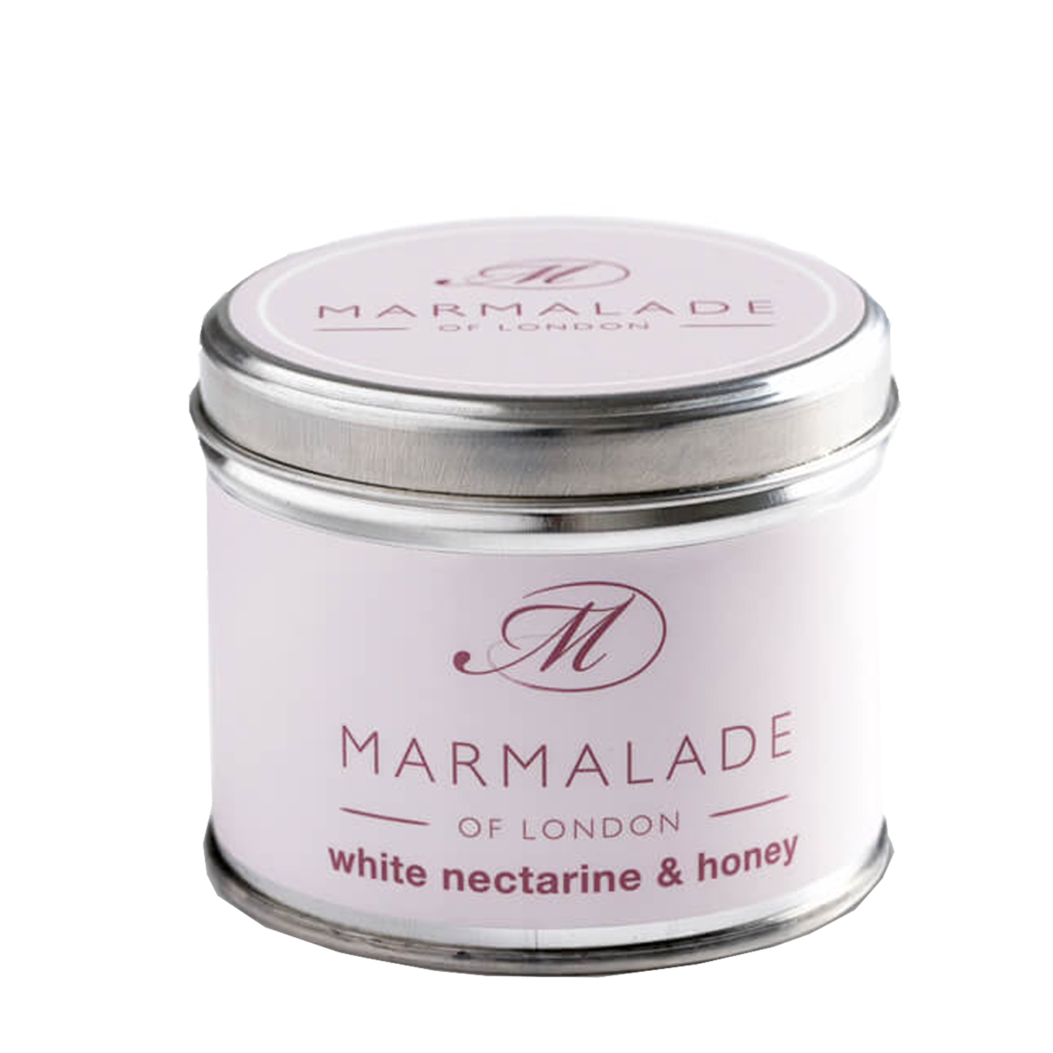 00173 White Nectarine & Honey tin candle