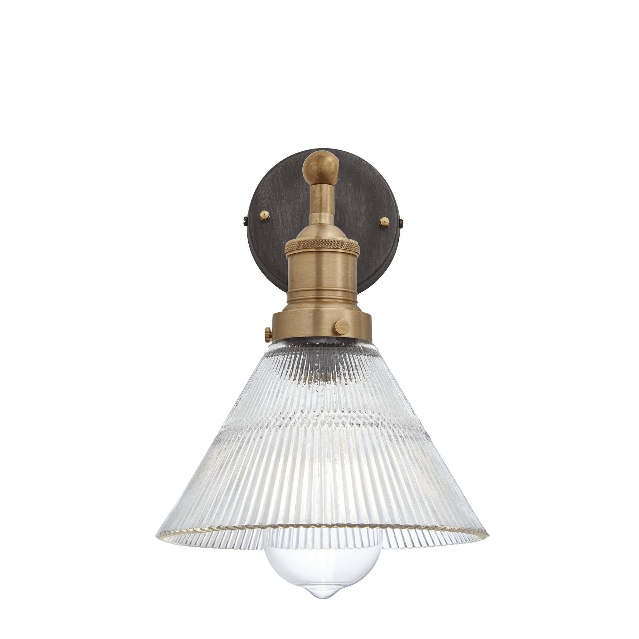 0101 Glass and brass Funnel wall light